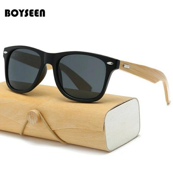 7c7009a6b1 BOYSEEN Retro Wood Sunglasses Men Bamboo Sunglass